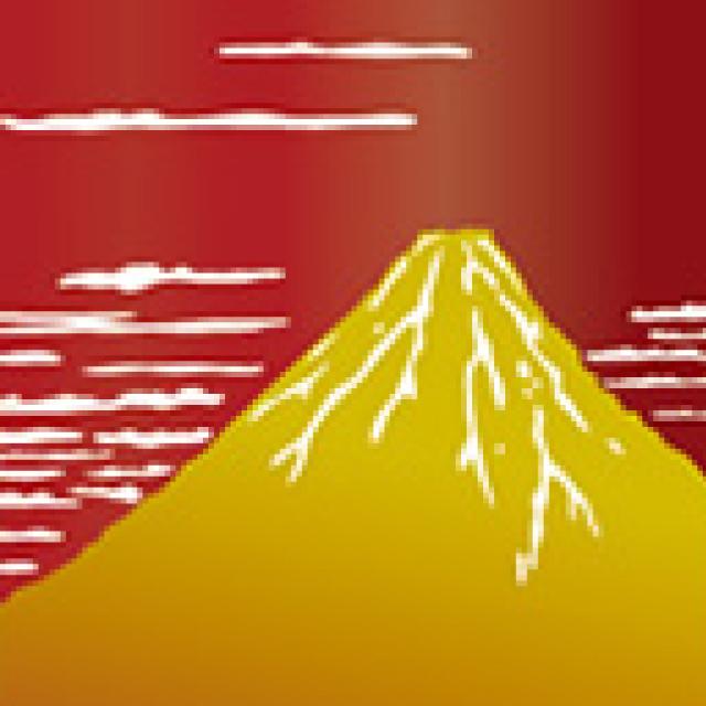 赤富士と枝垂れ桜